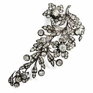 Large Antiquity Brooch with 2035 Ct Diamonds Brilliants of the Belle Époque