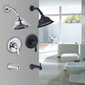 Rain Shower Faucet Showerhead Tub Spout Shower Head  Ceramic Diverter Valve kits
