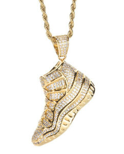 5.37CTW NATURAL DIAMOND 14K SOLID YELLOW GOLD HIP HOP SNEAKERS PENDANT FOR MAN
