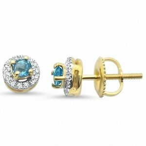 Art Deco Round Blue Topaz & Diamond Earrings 0.37cts 10k Yellow Gold