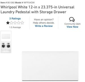Whirlpool White Universal Laundry Pedestal with Storage Drawer