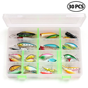 LotFancy 30 PCS Fishing Lures for Freshwater with Storage Box Bass Lures from