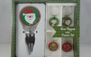 Wine stopper set holiday Christmas themed with bottle charms