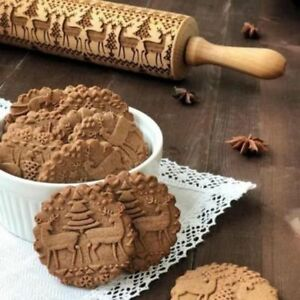 Christmas Rolling Engraved Carved Wood Embossed Baking Cookies Noodle Biscuit