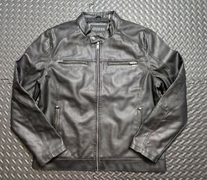 Men's  Retro Guess Biker Rider Faux Leather Jacket Sz Large Black