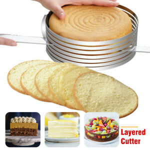 Pastry Baking Mousse Cake Cutter Round Ring Layer Slicer Mold Adjustable 9-12