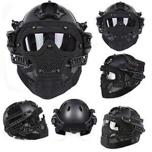FAST Tactical Helmet Combined With Full Mask and Goggle for Airsoft Paintball CS