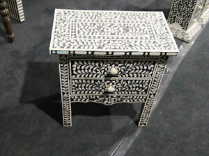 Bone Inlay Floral Bedside Table 2 Drawers Black
