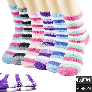Lot 1 12 Womens Winter Warm Soft Non Skid Cozy Fuzzy Slipper Crew Socks 9 11