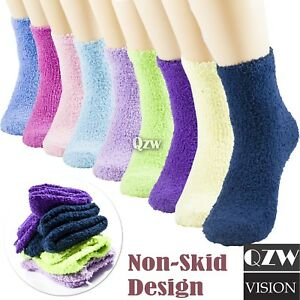 1 12 Pairs Womens Winter Super Soft Cozy Fuzzy Slipper Non Skid Crew Socks 9 11