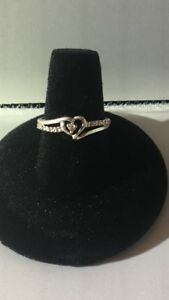 10kt White Gold & Diamond Heart Promise Ring Sz 7 Cleaned And Polished