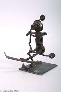 Nuts amp; Bolts Ski Sculpture 7quot; Handcrafted Metal Art Recycled Salvage Skier 7553 $18.95