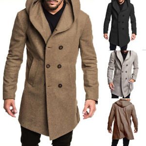 US Men's British Style Overcoat Long Jacket Wool Trench Warm Winter Coat Outwear