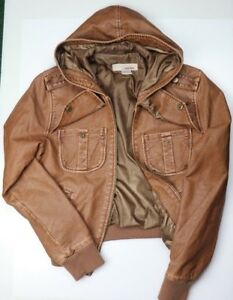 Sans Souci Tan Brown Leather Jacket Front Pockets with Hoodie Womens Size Large