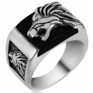 Turkish Jewelry 925 sterling silver WOLF onyx stone mens ring size US ALL SİZE