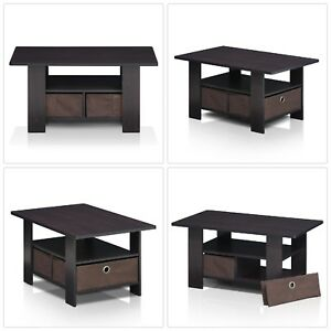 Dark Walnut Built-In Storage Coffee Table Removable Bin for Home Living Room