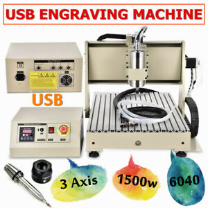 USB 220V 3 Axis 6040 VFD Router Engraver Drilling Machine Cutter DHL 1500W