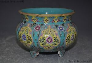 5Qian Long Mark China Wucai porcelain Glaze Enamel color Incense burner Censer