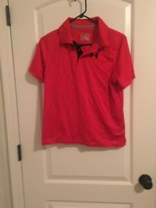 Under Armour Youth Boys kids HeatGear Loose Active Shirt Top Sz Youth XL Red Clo