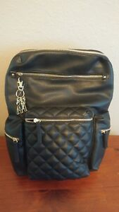 Fashion women faux black leather backpack
