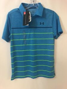 BOYS UNDER ARMOUR HEATGEAR BLUE POLO GOLF SHIRT YOUTH LARGE New With Tags