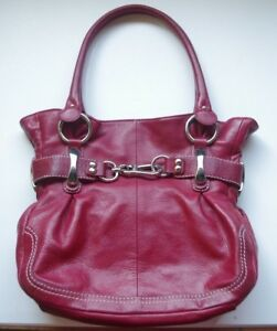 B. Makowsky Burgundy Wine Red Soft Genuine Leather Large Handbag Shoulder Bag