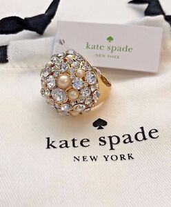 Kate spade pick a pearl cocktail ring crystal gold plated size 7 8 New+dust bag