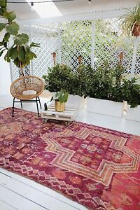 MISHKA PINK PURPLE ONE OF A KIND BOUJAD VINTAGE MOROCCAN LIVING RUG COLLECTOR