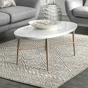 nuLOOM Contemporary Modern Geometric Tiles Area Rug in Grey $38.99