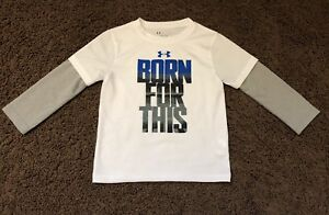 Boys Toddler Under Armour Long Sleeve Shirt Size 2t White UA Born For This