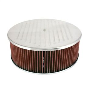 Spectre HPR Air Cleaner 14in. x 5in. Ball Milled Polished Aluminum - Red - spe49