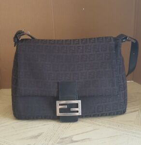 FENDI Authentic Designer Monogram Black Shoulder Bag Purse