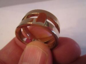 HERMES BIJOUTERIE FANTAISIE RING - SILVER PLATED - SIZE 10 - SIGNED - AUTHENTIC
