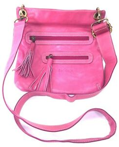 Avorio Pink Cross Body Smooth Leather Bag Adjustable Wide Shoulder Strap Italy