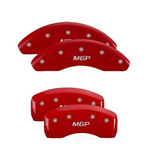 MGP 4 Caliper Covers Engraved Front & Rear MGP Red finish silver ch - mgp51002SM