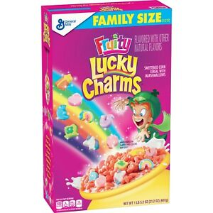 NEW GENERAL MILLS FAMILY SIZE FRUITY LUCKY CHARMS CEREAL 21.2 OZ BOX MARSHMALLOW