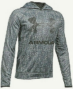Under Armour Big Boys Graphic Print Loose Fit ColdGear Hoodie Gray Size YSM