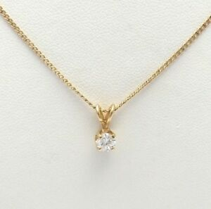 14K Gold .40CT Solitaire Diamond Pendant Necklace 16