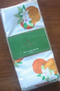 Kate Spade ~ Orangerie ~ Set of 4 Napkins ~ Fresh Fruit & Floral Blossoms ~ NEW!