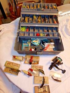 Plano Tackle Box Full of Vintage Wooden & Other Lures Crankbaits Reel Lot