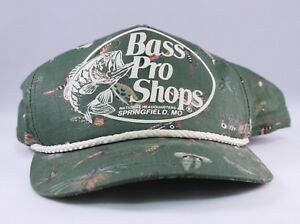 Bass Pro Shops vintage fishing lures snapback hat green made in the USA