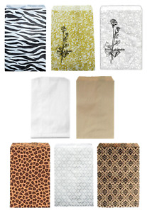 LOT OF 100 PAPER GIFT BAGS  & JEWELRY BAGS - 8 COLORS AND 3 SIZES BAGS & POUCHES