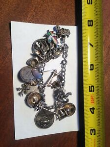 Sterling Silver Charm Bracelet with 18+ Charms