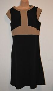 Kaleidoscope Black Brown Flared Dress Size 16 NEW
