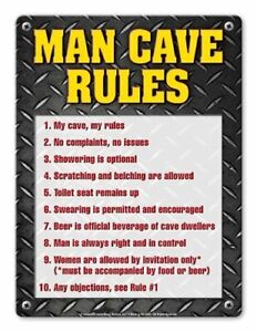 MAN CAVE RULES Sign - Individual Package - Laminated - 8.5