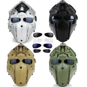 Full Face Protective Mask Paintball Tactical Airsoft Helmet w 4 Pairs Goggles