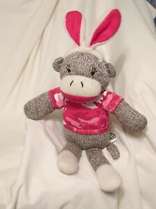 Sock Monkey Mini Pink Camouflage Valentines 13 in DanDee New