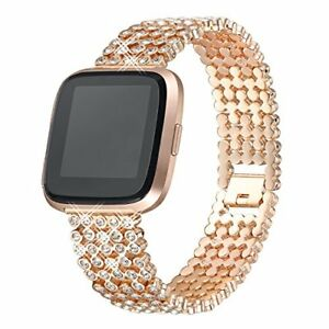 Fitbit Versa Band Women Rhinestone Replacement Strap Jewelry Bracelet Rose Gold