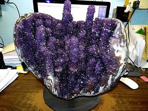 AMETHYST CRYSTAL CLUSTER GEODE  URUGUAY CATHEDRAL FULL STALACTITES STAND; RARE