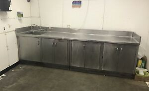 Custom Made Heavy Duty Stainless Steel Table Cabinet With Sink & Backsplash